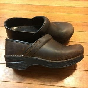 Dansko Brown Leather Clog Mule Size 36